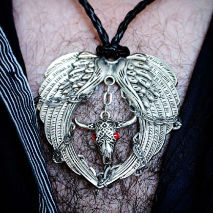Mens pendant wings BDSM dominant necklace