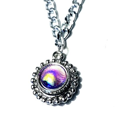 BDSM jewelry submissive day collar holographic chain necklace psychedelic pendant