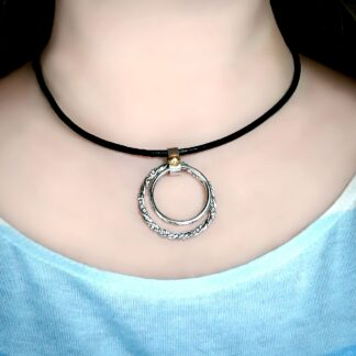 Submissive collar leather choker Steampunk BDSM necklace pendant