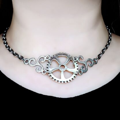 Steampunk jewelry BDSM symbol triskele day collar