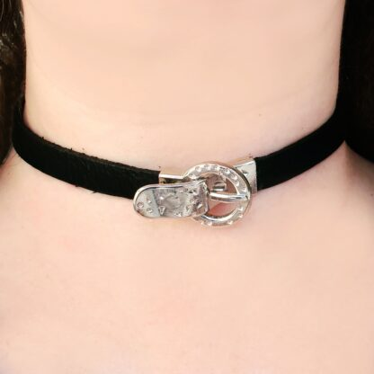 Submissive collar black leather choker Steampunk BDSM lock pendant