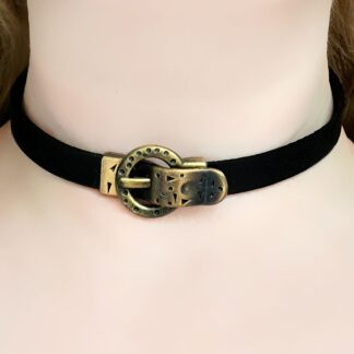 Submissive collar black leather choker Steampunk BDSM
