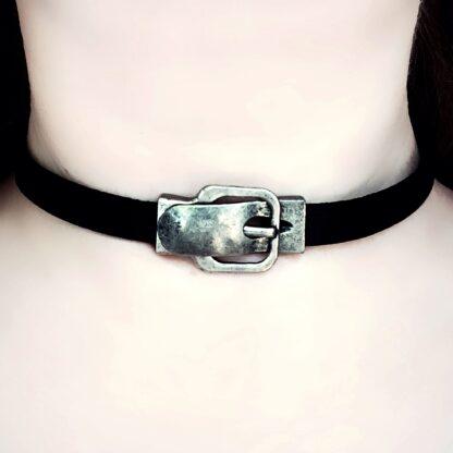 Submissive collar black leather choker Steampunk BDSM