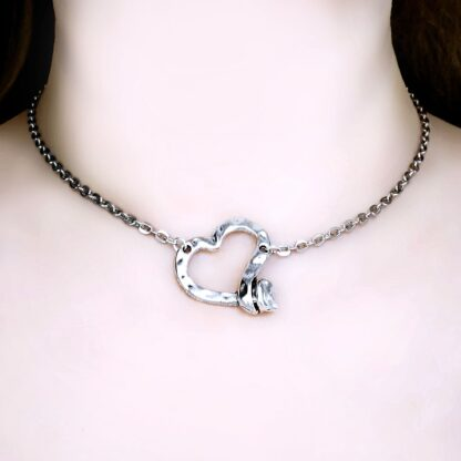 Heart pendant dominant fetish slave gift