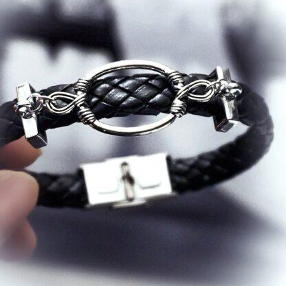 Steampunk BDSM jewelry mens leather bracelet dominant man gift