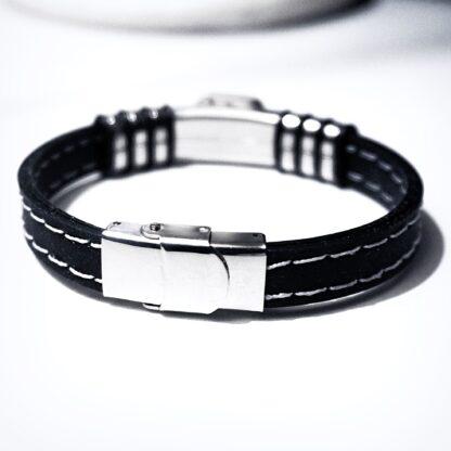 Steampunk BDSM jewelry mens black bracelet cuff