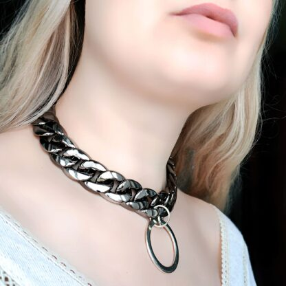 Submissive day collar Steampunk BDSM jewelry chain necklace dominant slave anniversary gift sub woman man pendant dominatrix clothing