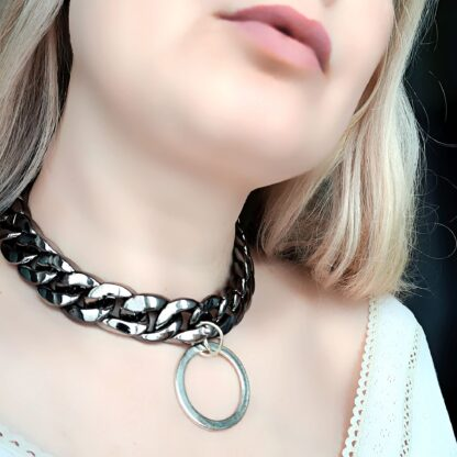 Submissive day collar Steampunk BDSM jewelry chain necklace dominant fetish slave anniversary gift sub woman man pendant dominatrix bondage