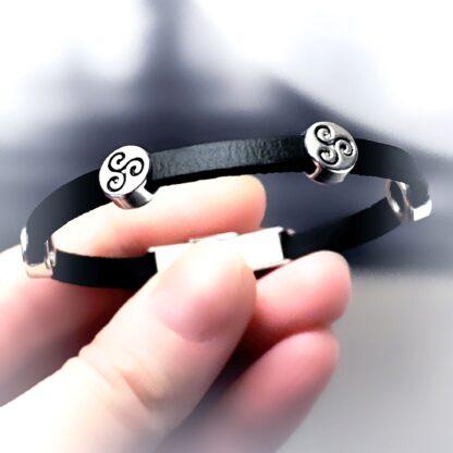 Стимпанк БДСМ украшения кожаный браслет шарм трискель символ