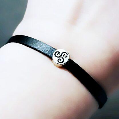 Steampunk BDSM jewelry leather bracelet symbol triskele
