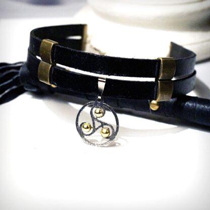 Стимпанк БДСМ украшения ошейник кожаный чокер трискель символ