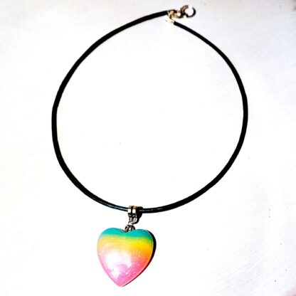 Steampunk BDSM jewelry submissive day collar holographic heart necklace