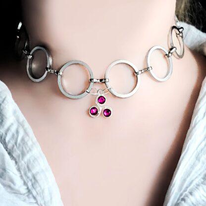 Steampunk BDSM symbol triskele day collar