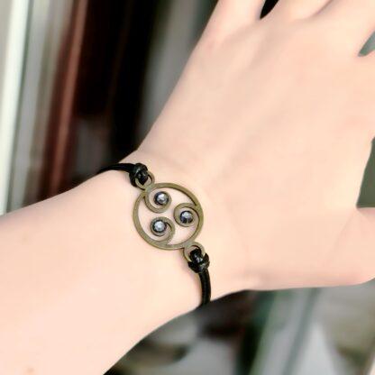 Steampunk BDSM jewelry submissive dominant symbol triskele metal leather bracelet