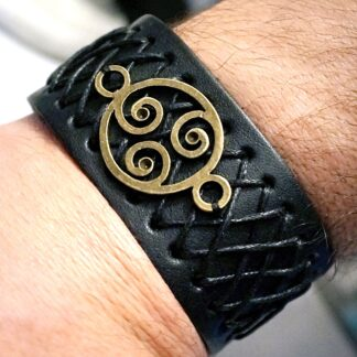 Стимпанк БДСМ украшения браслет мужской кожаный символ трискель