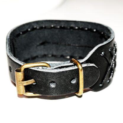 Steampunk BDSM jewelry mens leather bracelet triskele symbol