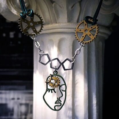 Submissive day collar dominant necklace cyberpunk psychedelic trance pendant