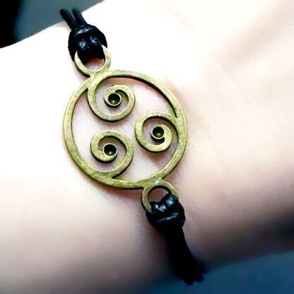 Стимпанк БДСМ украшения символ трискель браслет кожаный