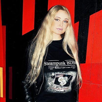 Стимпанк БДСМ одежда футболка женская чёрная хлопок