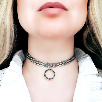 Submissive day collar Steampunk BDSM jewelry chain necklace