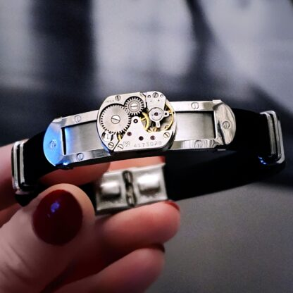 Steampunk BDSM jewelry mens black bracelet dominant