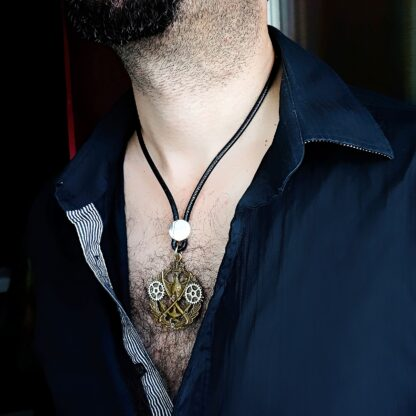 Steampunk BDSM jewelry mens pendant wings dominant necklace