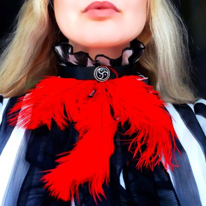 Steampunk BDSM submissive day collar triskele symbol feather choker sissy necklace