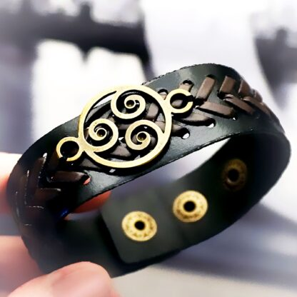 Steampunk BDSM jewelry mens leather bracelet triskele symbol