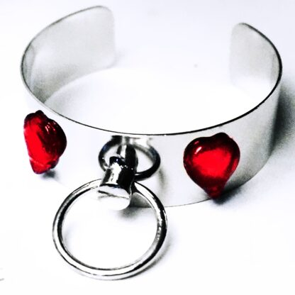 Steampunk BDSM jewelry bracelet cuff submissive o ring handcuffs heart slave