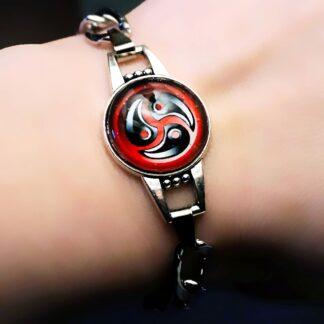 Steampunk BDSM symbol triskele triskelion metal chain bracelet