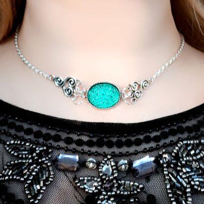Submissive day collar necklace choker Steampunk BDSM symbol triskele chain pendant Marrakesh