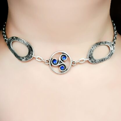 Steampunk BDSM jewelry symbol triskele day collar metal necklace