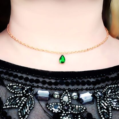 Submissive day collar Steampunk BDSM jewelry necklace emerald pendant