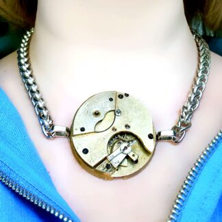 Steampunk BDSM jewelry gold necklace cyberpunk dominant dominatrix mistress slave robot pendant