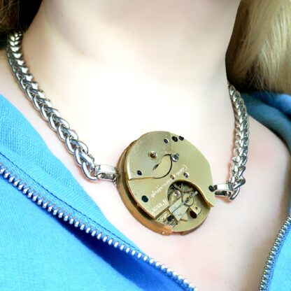 Steampunk BDSM jewelry gold necklace cyberpunk dominant dominatrix mistress slave robot pendant