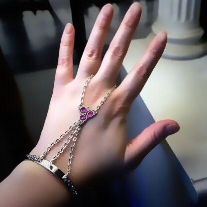 Steampunk BDSM jewelry submissive cuff chain bracelet triskele