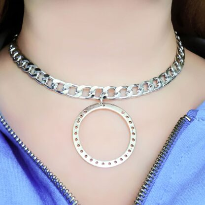 Steampunk BDSM jewelry submissive day collar chain necklace metal choker