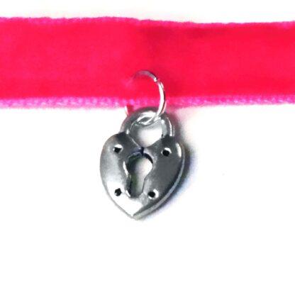 Steampunk BDSM submissive day collar pink choker charm lock pendant