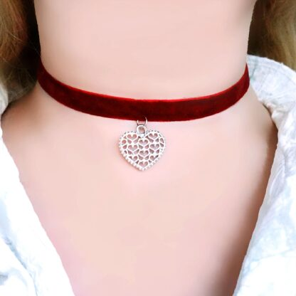 Steampunk BDSM jewelry submissive day collar velour choker charm heart