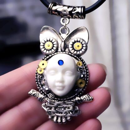 Steampunk BDSM jewelry cyberpunk owl necklace Buddha psychedelic trance collar
