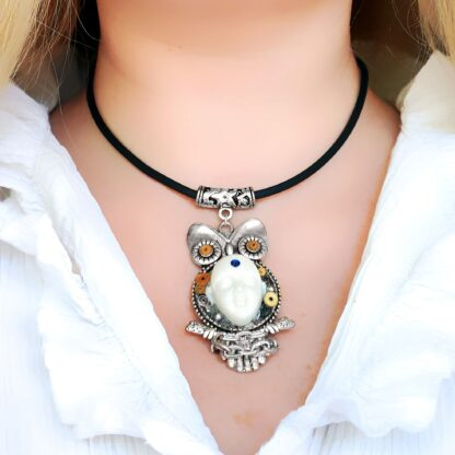 Steampunk BDSM jewelry cyberpunk owl necklace Buddha psychedelic trance collar