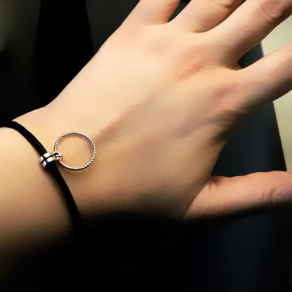Steampunk BDSM jewelry leather bracelet o ring lock cuff