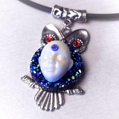 Steampunk BDSM jewelry cyberpunk owl necklace Buddha psychedelic