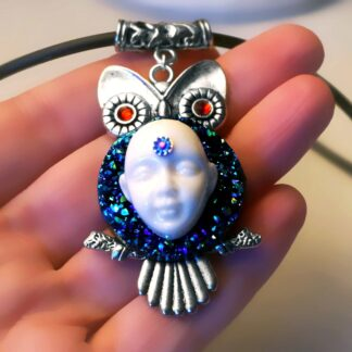 Steampunk BDSM jewelry cyberpunk owl necklace Buddha psychedelic