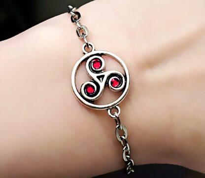 Steampunk BDSM jewelry symbol triskele metal chain bracelet submissive dominant