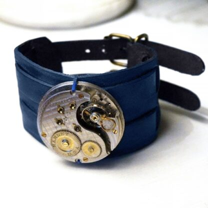 Steampunk BDSM jewelry mens leather bracelet burning man clothing