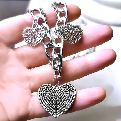 Steampunk BDSM jewelry submissive day collar chain necklace metal choker heart pendant