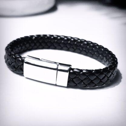 Steampunk BDSM jewelry mens leather bracelet magnetic lock