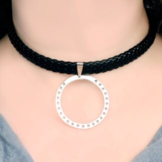 Steampunk BDSM jewelry submissive ring collar leather choker necklace