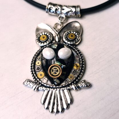 Steampunk BDSM jewelry submissive day collar slave cyberpunk owl